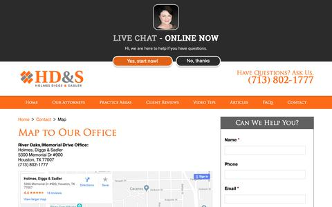 Screenshot of Maps & Directions Page holmesdiggs.com - Map, Office Location, Houston Divorce Lawyers   Holmes, Diggs & Sadler - captured Sept. 29, 2018