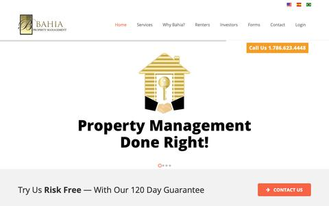 Screenshot of Home Page miami-propertymanagement.com - Miami Property Management - Bahia Property Management - captured Oct. 31, 2018