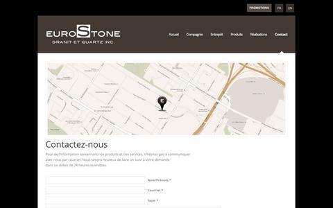 Screenshot of Contact Page eurostone.ca - Eurostone |   Contact - captured Feb. 10, 2020