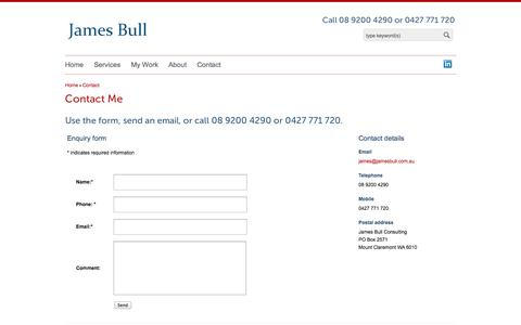 Screenshot of Contact Page jamesbull.com.au - Contact James Bull   Phone 08 9200 4290   Perth Australia - captured Oct. 6, 2014