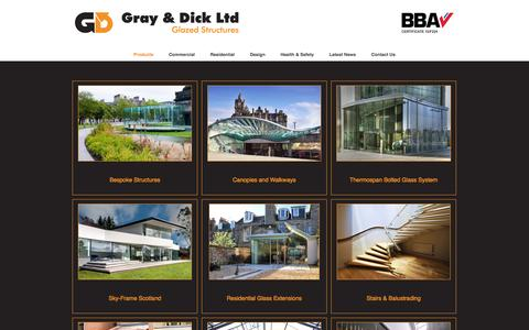 Screenshot of Products Page gdltd.net - Sky-Frame - Stairs & Balustrading - Canopies & Walkways | Gray & Dick Ltd - Glazed Structures - Sky-Frame Scotland - captured Feb. 1, 2016