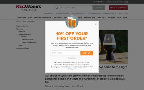 Screenshot of Jobs Page kegworks.com - Jobs at KegWorks - captured Sept. 20, 2018