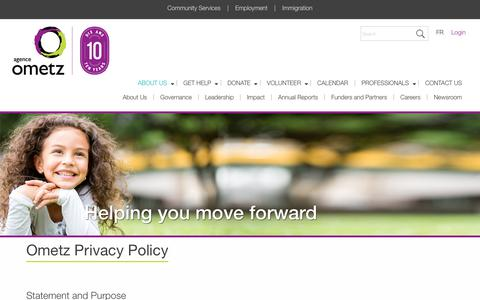 Screenshot of Privacy Page ometz.ca - Ometz Privacy Policy - About Us - captured Oct. 3, 2018
