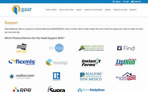 Screenshot of Support Page gaar.com - Greater Albuquerque Association of REALTORS® - captured Sept. 19, 2014