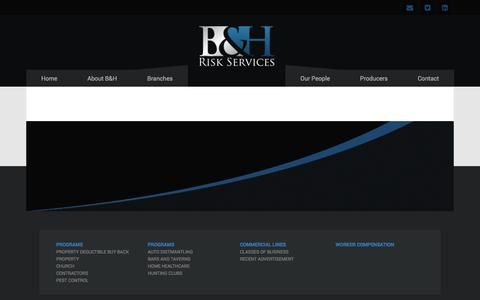 Screenshot of Products Page bhrisks.com - Products - BH Risk Services - captured Oct. 1, 2014