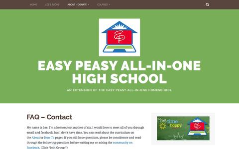 Screenshot of FAQ Page allinonehighschool.com - FAQ – Contact – Easy Peasy All-in-One High School - captured Aug. 30, 2016