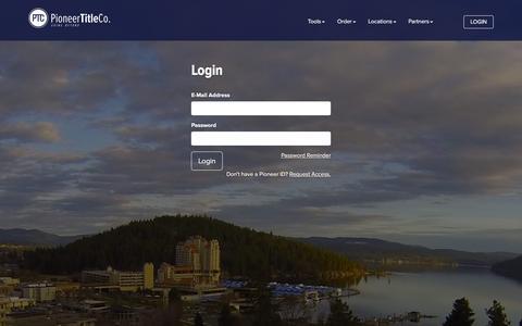 Screenshot of Login Page pioneertitleco.com - Pioneer Title Co - Login - captured Jan. 28, 2016