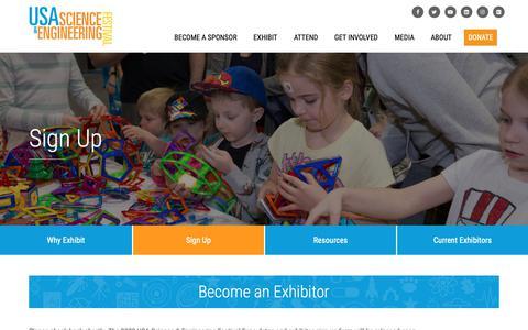 Screenshot of Signup Page usasciencefestival.org - Sign Up   USASEF - captured Sept. 28, 2018