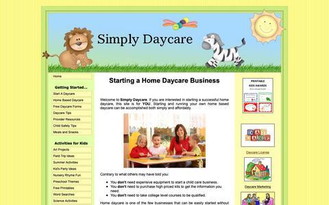 Screenshot of Home Page simplydaycare.com - Simply Daycare... making home daycare simple - captured Oct. 19, 2018