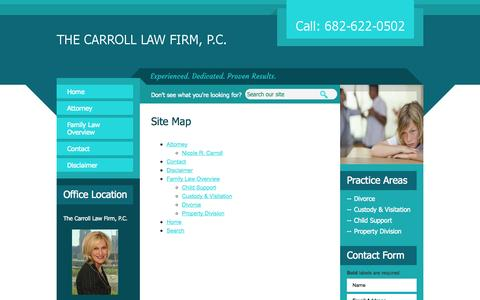 Screenshot of Site Map Page thecarrolllawfirm.com - Site Map | Carroll Law Firm P.C. | Southlake, Texas - captured Oct. 7, 2014