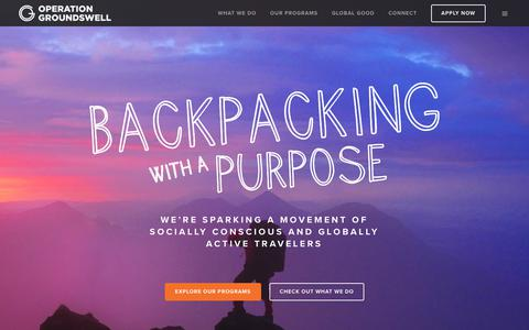 Screenshot of Home Page operationgroundswell.com - Backpacking with a Purpose | Apply Today for 2019-20 Programs - captured Nov. 7, 2019