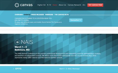 Screenshot of Press Page canvaslms.com - Events   Canvas Learning Management System - captured March 3, 2017