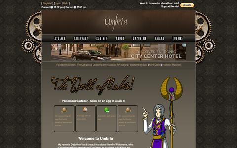 Screenshot of Home Page worldofumbria.net - World of Umbria | Atelier - captured Oct. 1, 2014