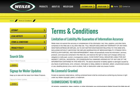 Screenshot of Terms Page weilerproducts.com - Weiler | Terms & Conditions - captured Oct. 26, 2014