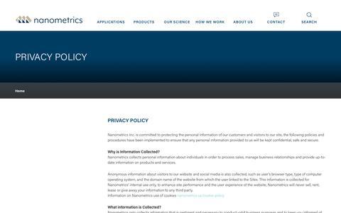 Screenshot of Privacy Page nanometrics.ca - Privacy Policy  | Nanometrics - captured Oct. 20, 2018