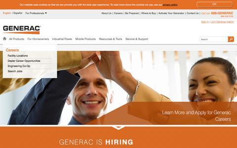 Screenshot of Jobs Page generac.com - Generac Power Systems   About Us   Generac Power Systems - captured July 24, 2017
