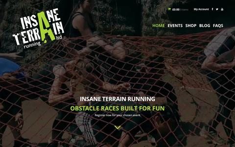 Screenshot of Home Page insaneterrainrunning.com - Insane Terrain Running - Obstacle Course Mud Runs - captured Sept. 7, 2015