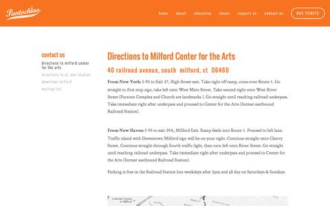 Screenshot of Maps & Directions Page pantochino.com - Directions to Milford Center for the Arts — Pantochino Productions Inc. - captured Jan. 25, 2016
