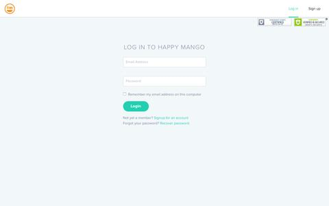 Screenshot of Signup Page Login Page happymangocredit.com - Welcome to Happymangocredit.com - captured Oct. 25, 2016