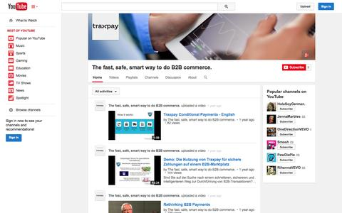 Screenshot of YouTube Page youtube.com - The fast, safe, smart way to do B2B commerce.  - YouTube - captured Oct. 22, 2014
