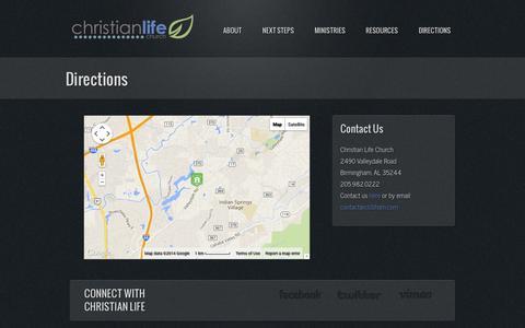 Screenshot of Maps & Directions Page clcbham.com - Directions | Christian Life Church - captured Oct. 27, 2014