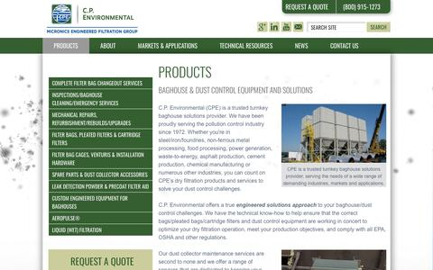 Screenshot of Products Page cp-environmental.com - Baghouse and Industrial Dust Control Equipment and Services from CPE - captured Oct. 7, 2017