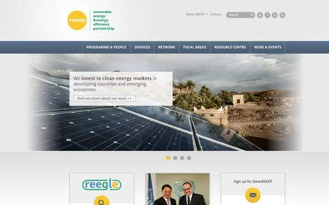 Screenshot of Home Page reeep.org - Renewable Energy and Energy Efficiency Partnership (REEEP) - captured Oct. 7, 2014