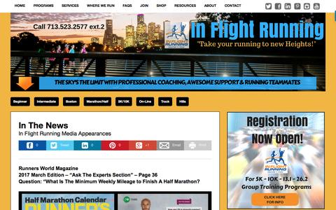 Screenshot of Press Page inflightrunning.com - In Flight Running - In The News & Media Appearances - captured May 27, 2017