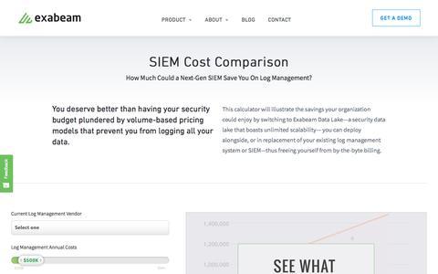 SIEM Cost Comparison - Exabeam