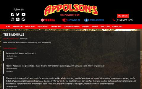 Screenshot of Testimonials Page appolson.com - Home - captured Oct. 8, 2017