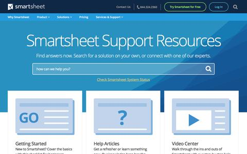 Screenshot of Support Page smartsheet.com - Support Center | Smartsheet - captured Sept. 23, 2017