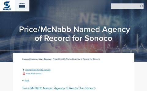 Screenshot of Press Page sonoco.com - Price/McNabb Named Agency of Record for Sonoco | Sonoco - captured Nov. 5, 2019