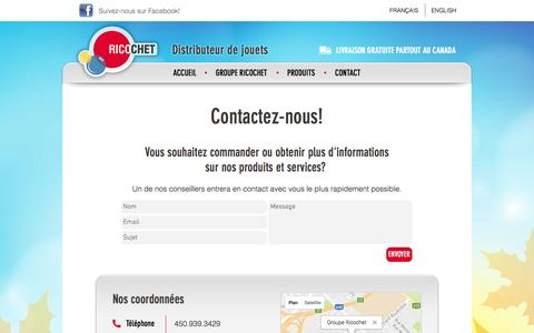 Screenshot of Contact Page groupericochet.com - Groupe Ricochet | Contact - captured Nov. 16, 2016
