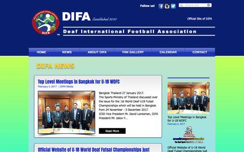 Screenshot of Press Page difa-org.com - difa-world | NEWS - captured Oct. 12, 2017