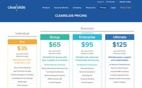 Screenshot of Pricing Page clearslide.com - ClearSlide Pricing - captured Dec. 19, 2015