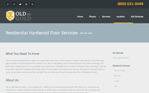 Screenshot of Services Page oldtogold.com - Hardwood Floor Refinishing and Installation • Old To Gold - captured July 6, 2017