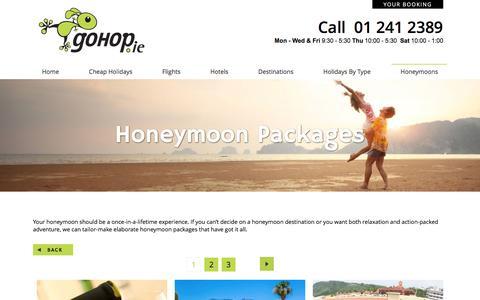 Screenshot of Products Page gohop.ie - Honeymoon Packages - GoHop.ie - captured Nov. 11, 2016