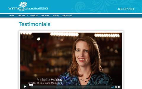 Screenshot of Testimonials Page vmgstudio520.com - Don't Just Take It From Us | VMG/studio520 Testimonials - captured Nov. 4, 2017