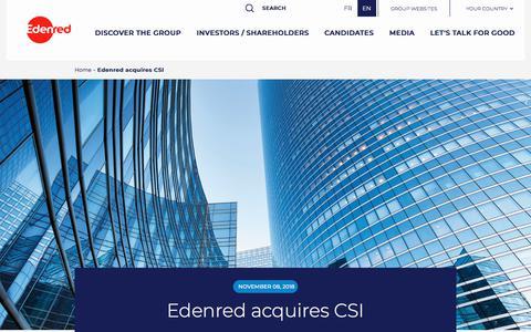 Screenshot of Press Page edenred.com - Edenred acquires CSI   Edenred - captured July 8, 2019