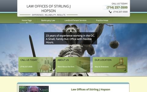 Screenshot of Home Page hopsonlaw.com - Law Offices of Stirling J Hopson | (714) 257-3500 - captured Oct. 30, 2016