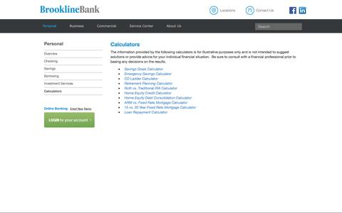 Brookline Bank - Calculators