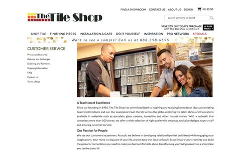 Screenshot of About Page Support Page tileshop.com - Customer Service - captured Feb. 4, 2016