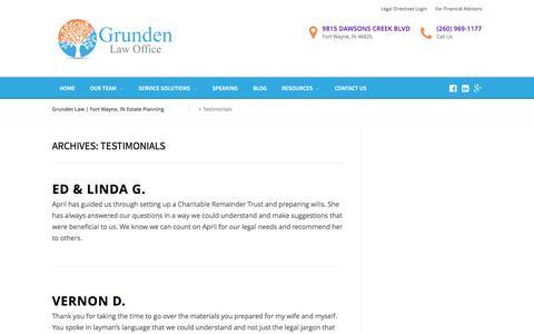 Screenshot of Testimonials Page grundenlaw.com - Testimonials - Grunden Law | Fort Wayne, IN Estate Planning - captured Nov. 15, 2016