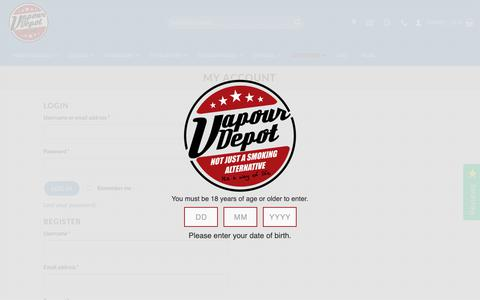 Screenshot of Login Page vapourdepot.com - My account | Vapour Depot Limited - captured Oct. 1, 2018