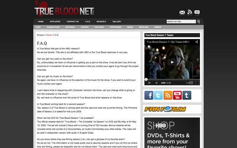 Screenshot of FAQ Page truebloodnet.com - F.A.Q   True Blood News- ALL the True Blood Season 7 Spoilers Videos Interviews - captured Sept. 19, 2014