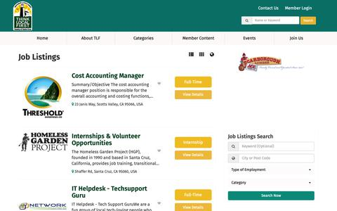 Screenshot of Jobs Page thinklocalsantacruz.org - Santa Cruz County Job Listings - Find Locally Owned Job Listings - captured Oct. 21, 2018