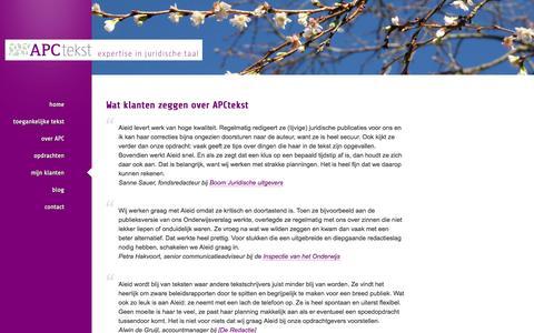 Screenshot of Testimonials Page apctekst.nl - APCtekst – mijn klanten - captured Oct. 29, 2014