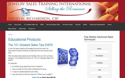 Screenshot of Products Page jewelrysalestraining.com - Educational Products | Jewelry Sales Training | - captured Nov. 27, 2016