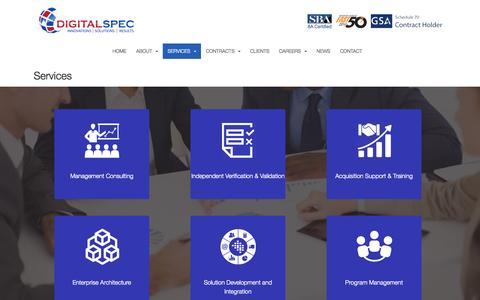 Screenshot of Services Page digitalspec.net - Services | DIGITALSPEC - captured Nov. 18, 2015