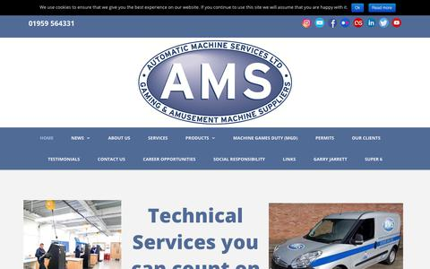 Screenshot of Home Page automaticmachineservices.co.uk - Automatic Machine Services Ltd (AMS) - captured Oct. 4, 2018